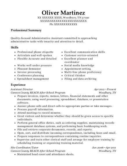 Assistant Director resume template Tennessee