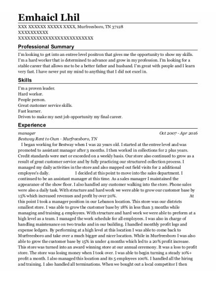 Manager resume example Tennessee