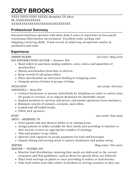 ORDER PICKER resume format Tennessee