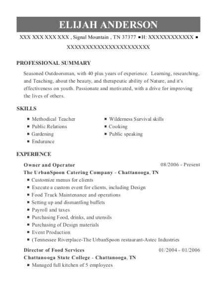 Owner and Operator resume format Tennessee