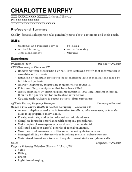 Pharmacy Tech resume sample Tennessee