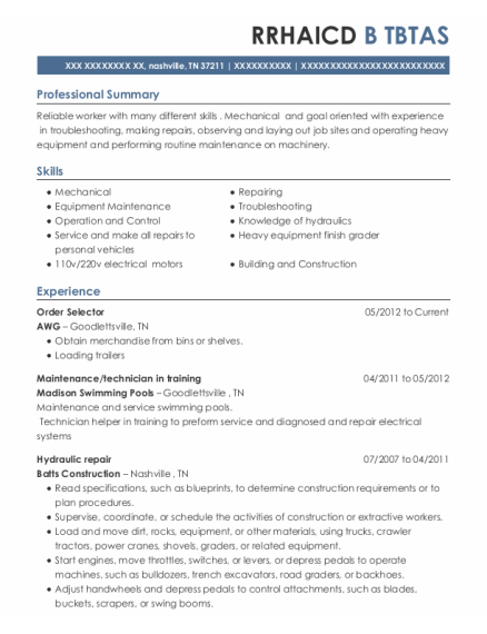 Order Selector resume template Tennessee