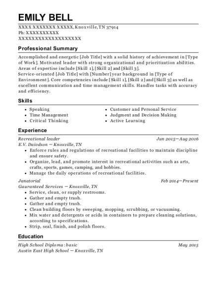 Recreational leader resume format Tennessee