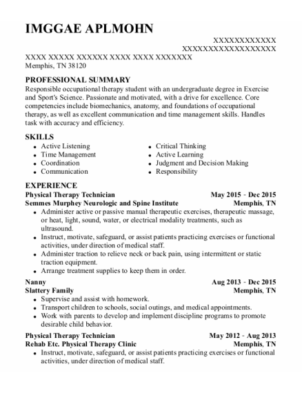 Physical Therapy Technician resume example Tennessee