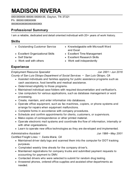 Employment Resource Specialist resume sample Tennessee