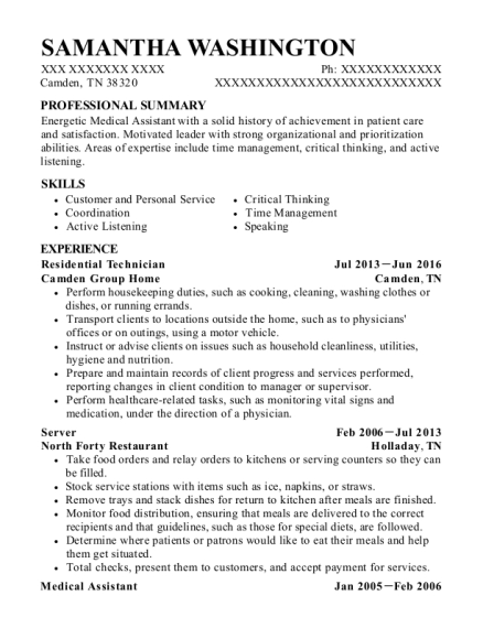 Residential Technician resume sample Tennessee