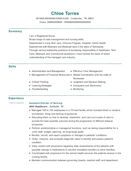 Assistant Director of Nursing resume template Tennessee