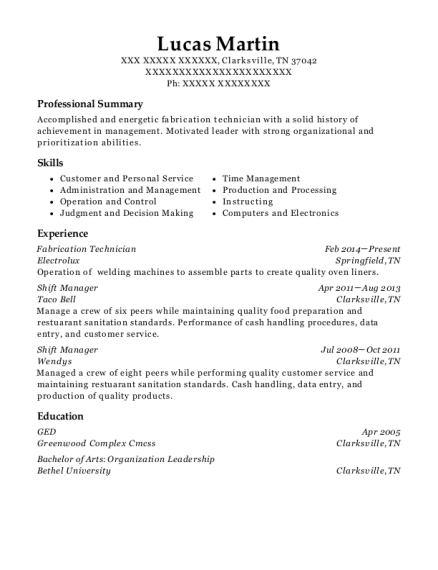 Fabrication Technician resume example Tennessee