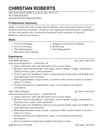 LPN resume example Tennessee