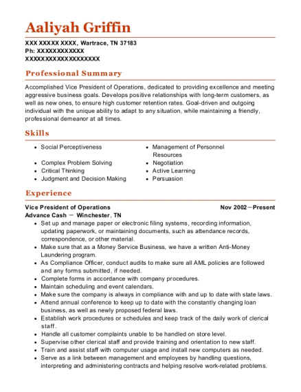 Vice President of Operations resume template Tennessee