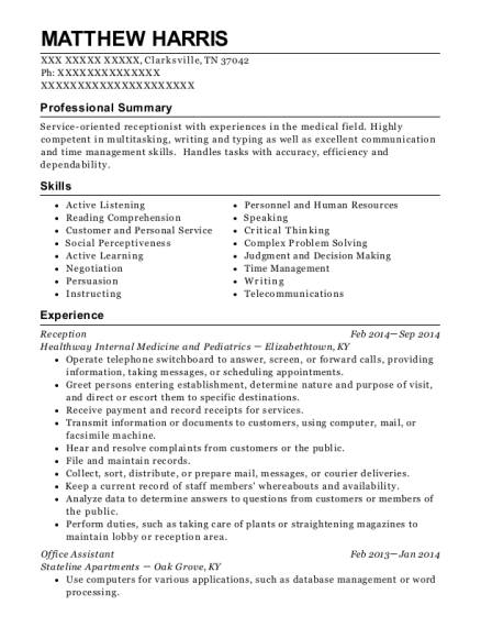 Reception resume sample Tennessee