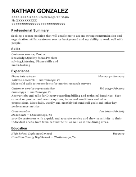 Phone interviewer resume format Tennessee