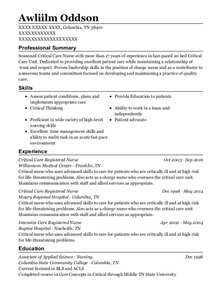 Critical Care Registered Nurse resume format Tennessee