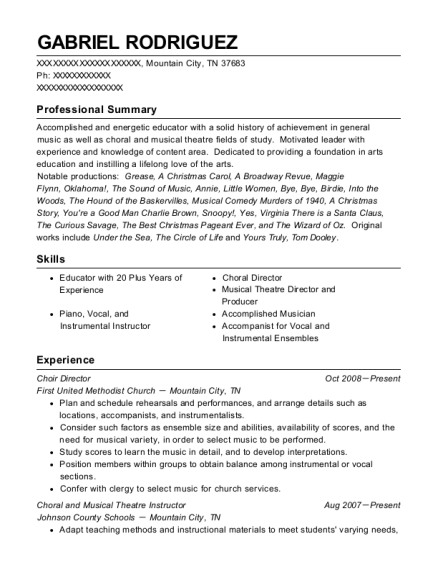 Choir Director resume example Tennessee