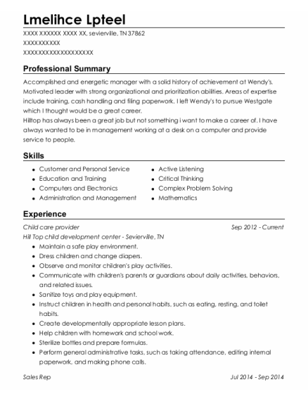 Child care provider resume sample Tennessee