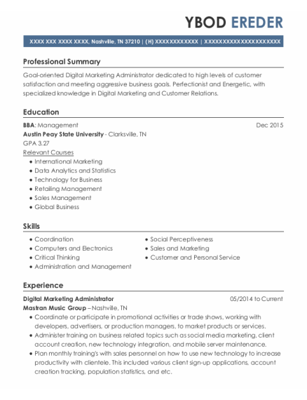 Client Service Manager resume template Tennessee