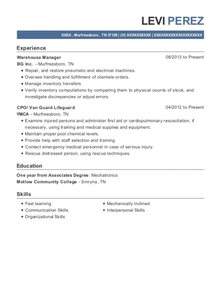 Warehouse Manager resume format Tennessee