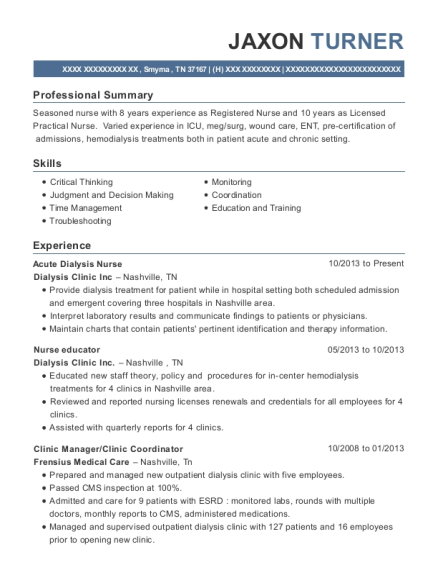 american mobile healthcare dialysis nurse resume sample