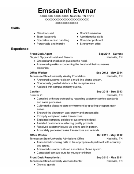 Front Desk Agent resume template Tennessee