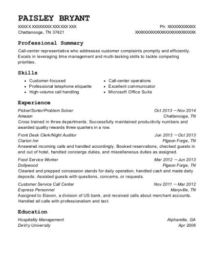 Picker resume example Tennessee