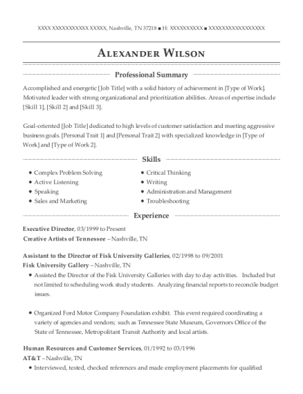 Executive Director resume template Tennessee