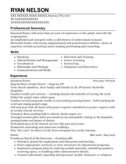 Assistant Pastor resume template Tennessee