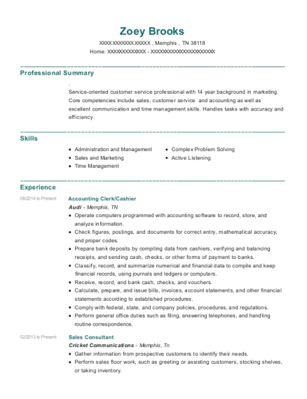 Accounting Clerk resume example Tennessee
