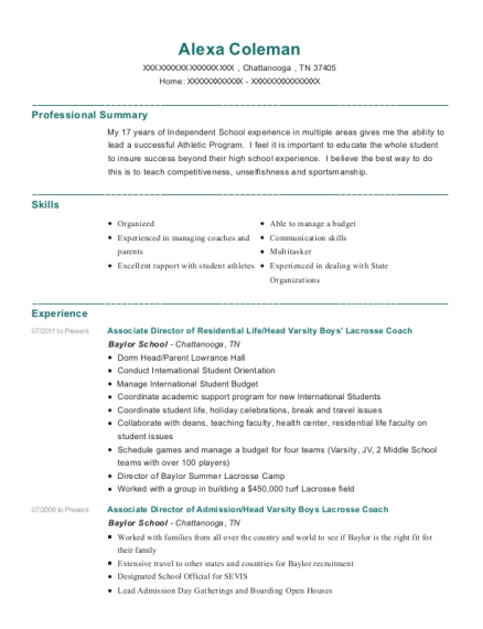 Associate Director of Residential Life resume format Tennessee