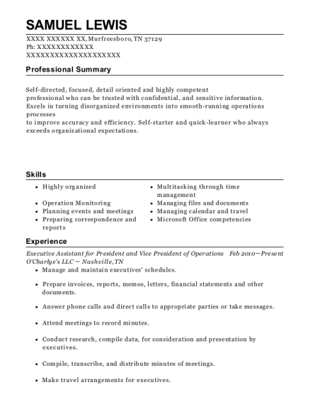Executive Assistant for President and Vice President of Operations resume sample Tennessee