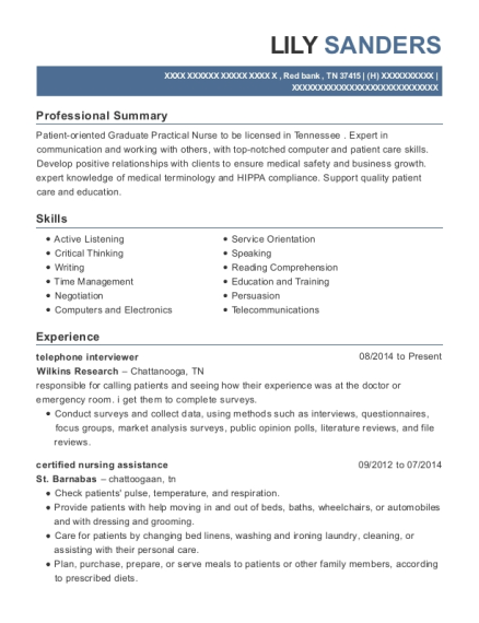 telephone interviewer resume example Tennessee