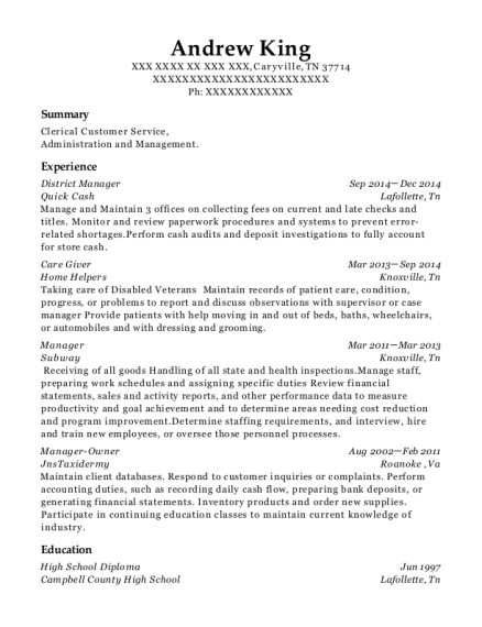 District Manager resume format Tennessee