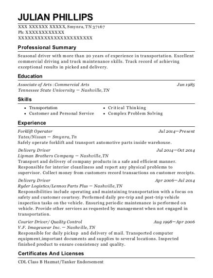 Forklift Operater resume format Tennessee