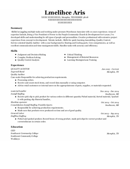 Quality Auditor resume format TENNESSEE