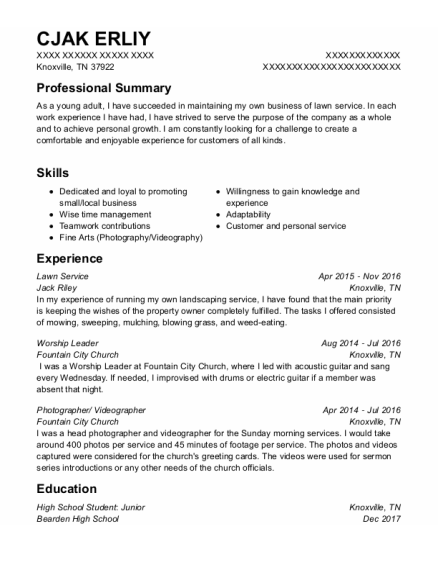Lawn Service resume example Tennessee