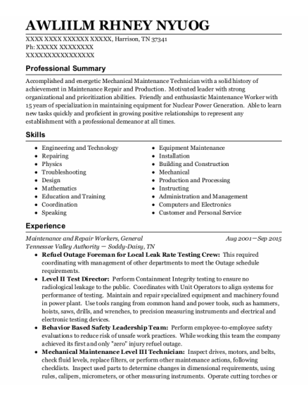 General resume format Tennessee