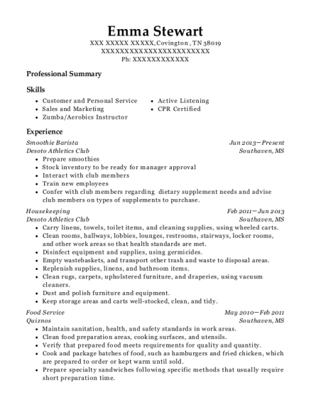 Smoothie Barista resume sample Tennessee