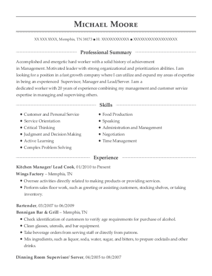 Kitchen Manager resume example Tennessee
