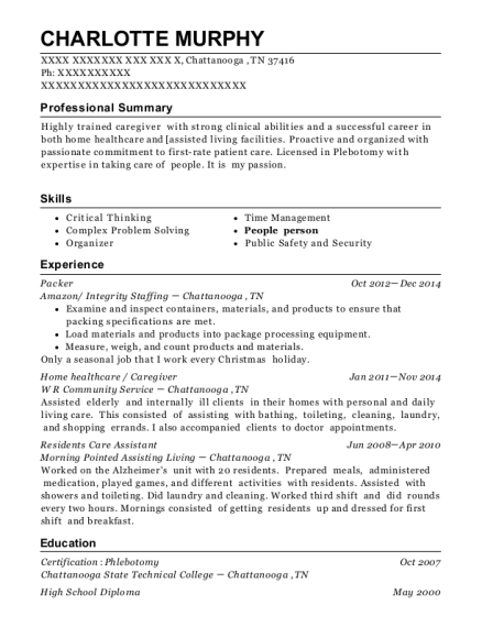 Packer resume example Tennessee