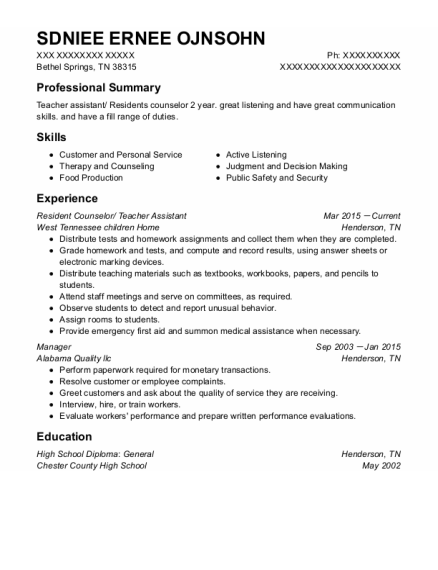 Resident Counselor resume sample Tennessee