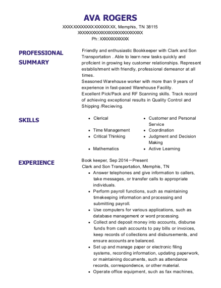 Book keeper resume format Tennessee