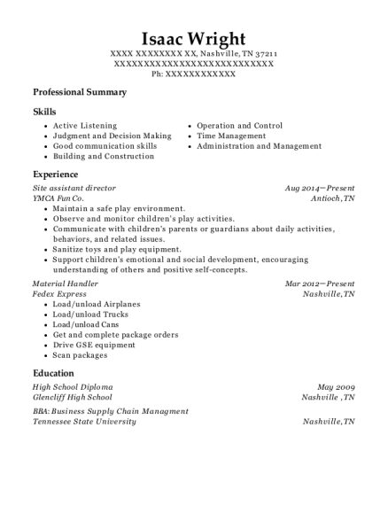 Site assistant director resume sample Tennessee