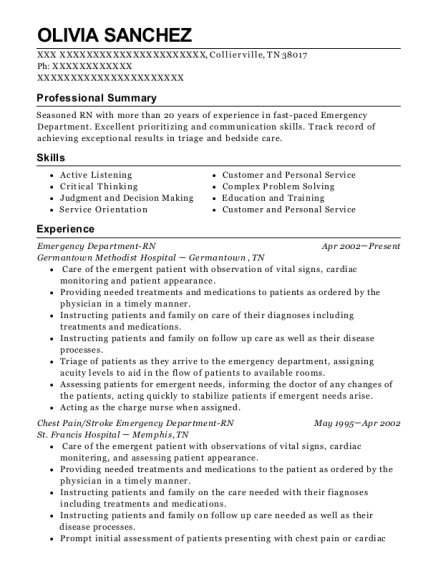 Emergency Department RN resume format Tennessee