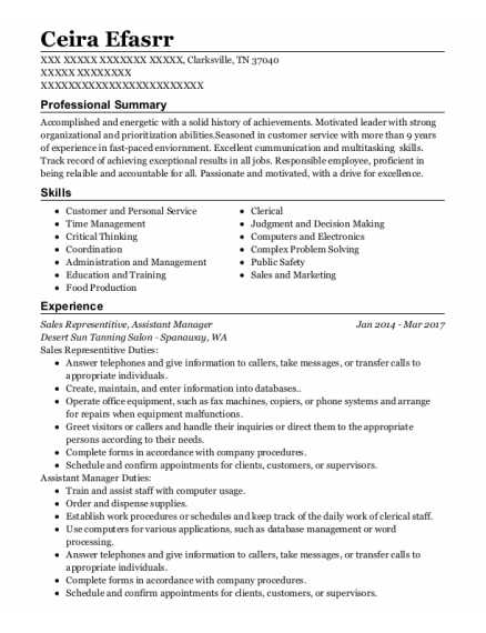 Sales Representitive resume format Tennessee
