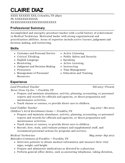Lead Preschool Teacher resume template Tennessee