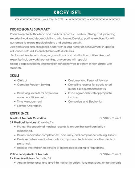Office Lead resume example Tennessee