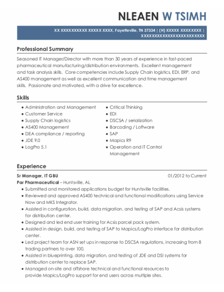 Sr Manager New Partner Development resume format Tennessee