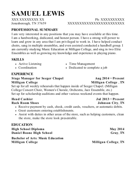 Stage Manager for Seeger Chapel resume template Tennessee