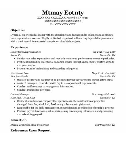 Direct Sales Representative resume sample Tennessee