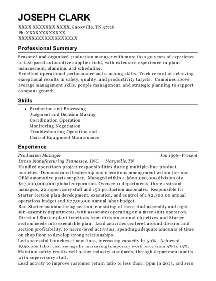Production Manager resume format Tennessee