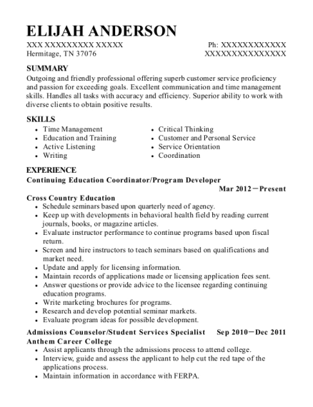 Continuing Education Coordinator resume example Tennessee